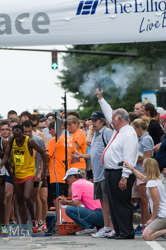 Cigna/Elliot 5k - Nikon D700 1/500th f5.6 ISO 900 200mm (Nikon 70-200 VRII) Mayor Ted Gatsas firing the pistol to start the race.